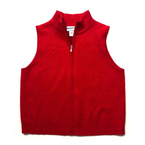 Pendleton Jackets & Blazers - VTG Pendleton Red Lambswool Zip Vest